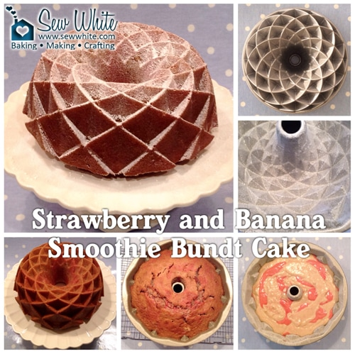 the how to photos of making the Strawberry and Banana Smoothie Bundt cake