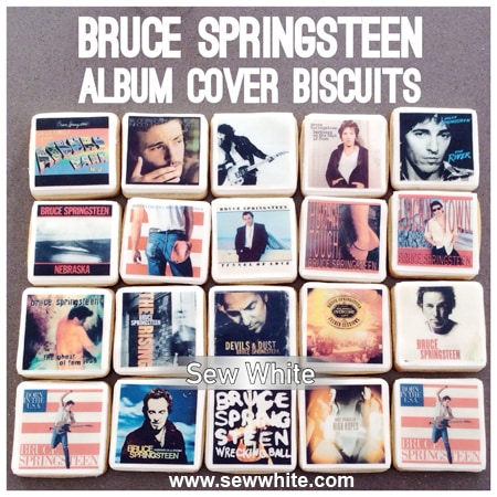 Sew White Bruce Springsteen album cover biscuits. Edible album covers biscuits