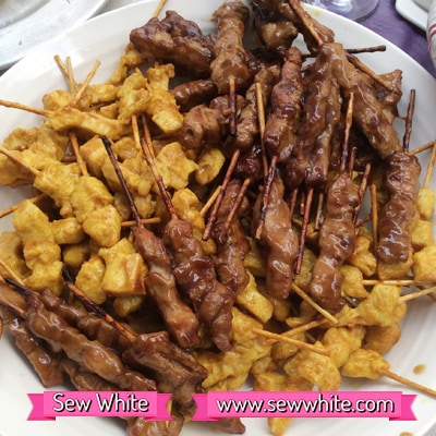 chicken skewers for the surprise wedding anniversary party food 7
