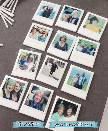 edible polaroids made of sugarpaste and icing