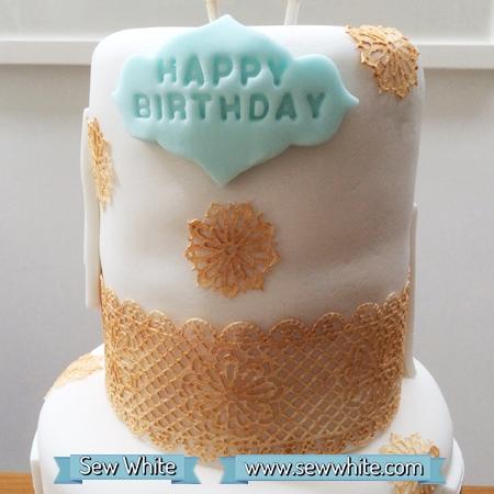 Sew White Polka Dot birthday cake 7