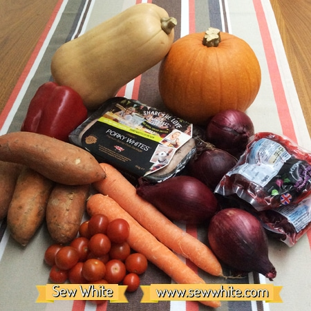 Sew White harvest autumn sausage tray bake 1