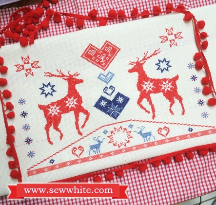 Sew White reindeer Christmas cross stitch pompom cushion 1