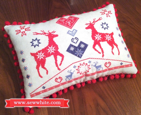 Sew White reindeer Christmas cross stitch pompom cushion 2