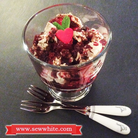 Sew White Warm Fruit Chocolate Meringue Pudding Valentine's Day 1