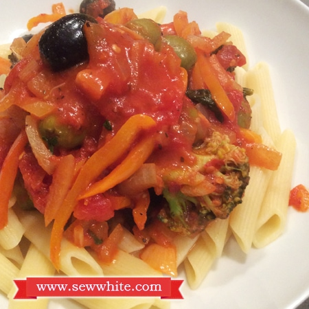 Sew White Chilli, sweet baby pepper and broccoli pasta 4
