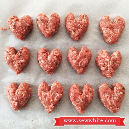 Heart Shaped Meatballs for Valentine's Day