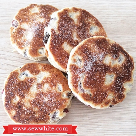Cranberry and Lime Welsh Cakes dusted in sugar