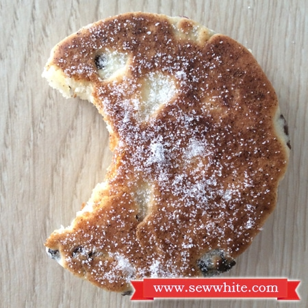 a bite taken out of a welsh cake