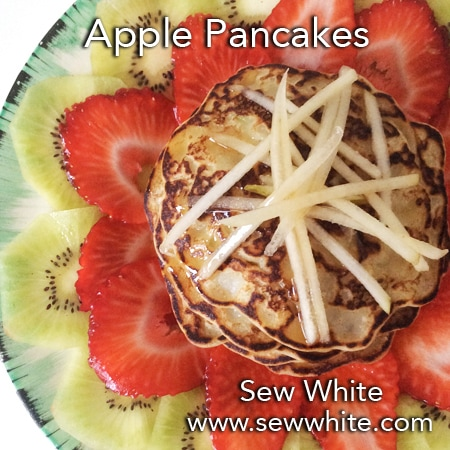 Sew White apple pancakes recipe fruit salad mothers day 1
