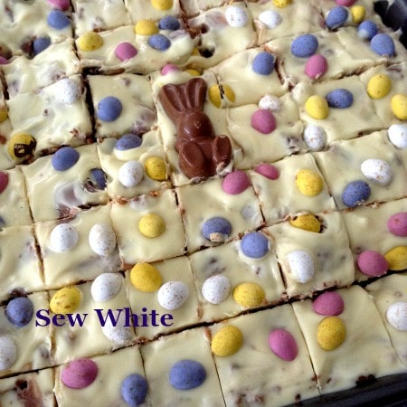 Sew White Easter chocolate fridge bake bark 5