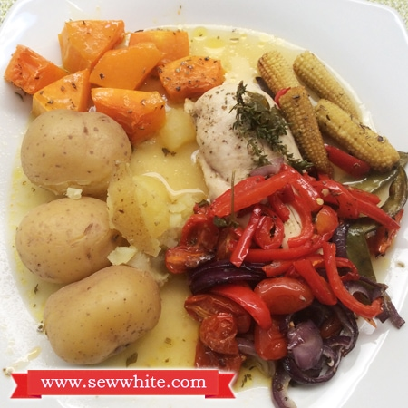 Sew White roast chicken and orange dinner 3