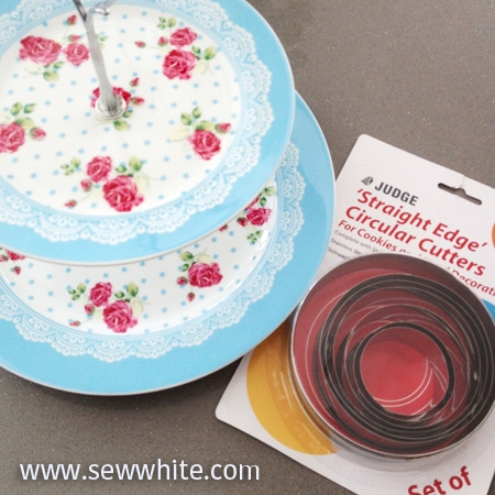 Tiered cake stand circle cookie cutters