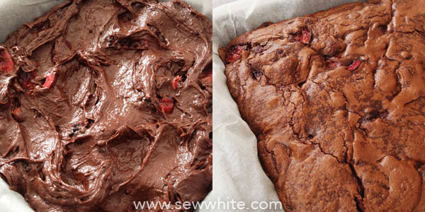 brownie mixture before and after cooking.