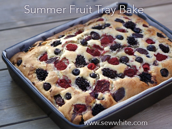 Summer Fruit Cake Tray Bake Sew White
