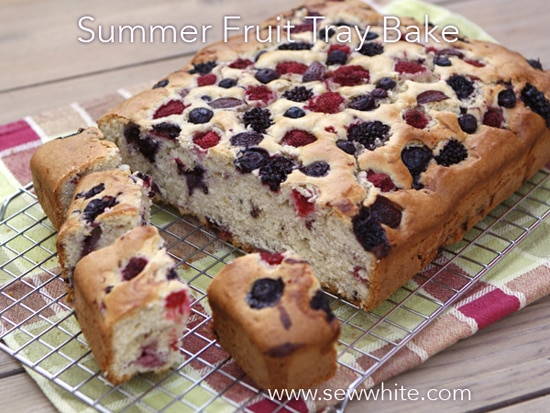 Sew White summer fruit cake tray bake 5