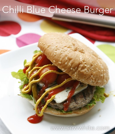 Sew White August Bank Holiday 1 chilli blue cheese Burger