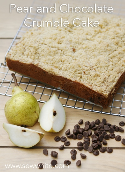 Sew White pear and chocolate crumble cake 1