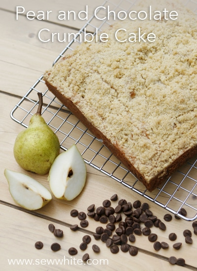 Sew White pear and chocolate crumble cake 2