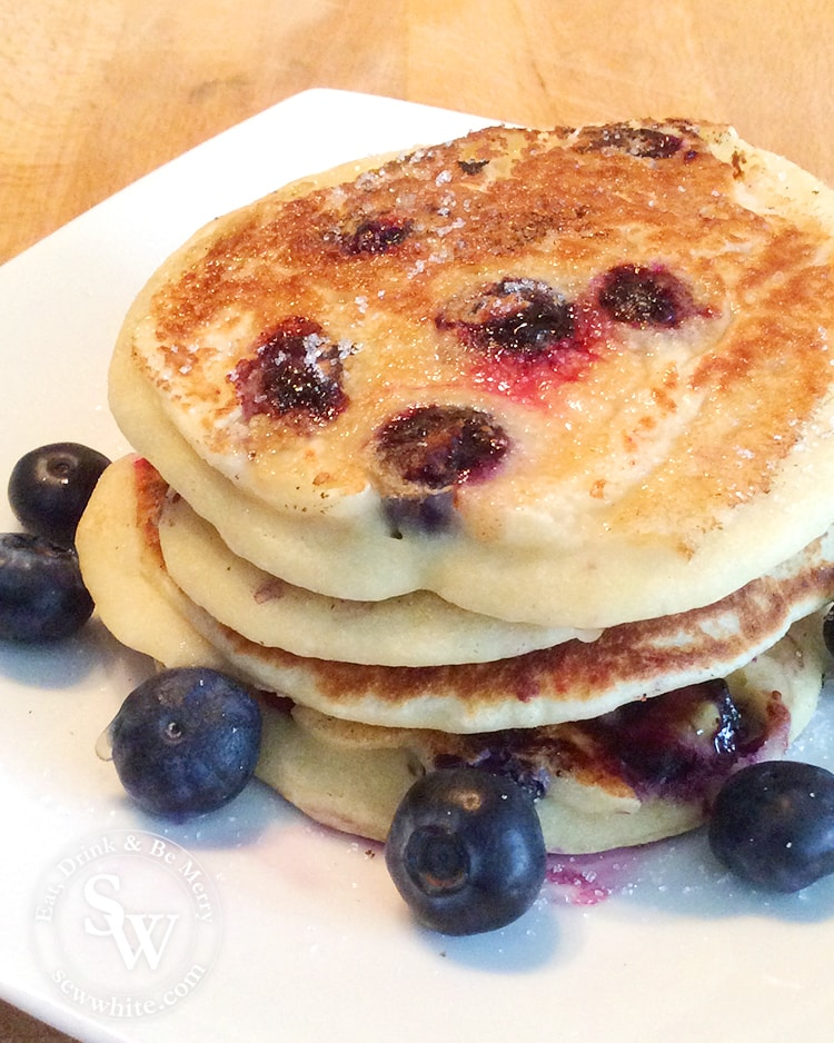 Blueberry American Style Pancakes served with fresh blueberries