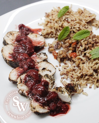 Sew White Strawberry and balsamic vinegar herb crust chicken 1