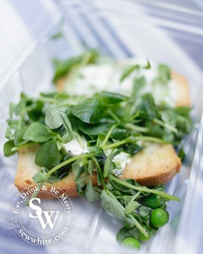 toasted bread with cream cheese and fresh pea shoots