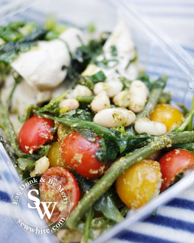 white beans cooked in pesto with tomatoes and green beans
