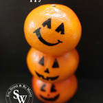 Creating pumpkins out of oranges for healthy halloween snacks