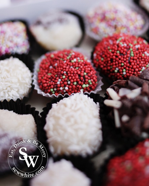 chocolate truffles wrapped in sprinkles