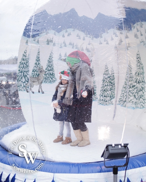inflatable snow globe with family inside