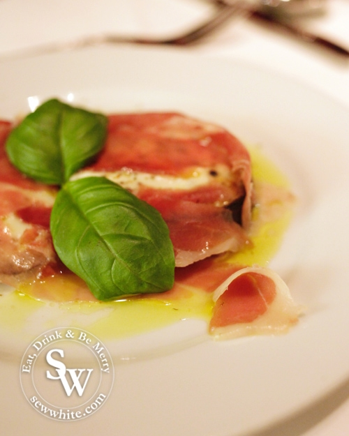 hot aubergine with parma ham and mozzarella