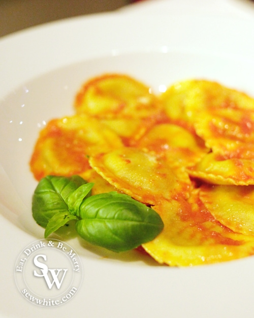 freshly made pasta served with fresh basil
