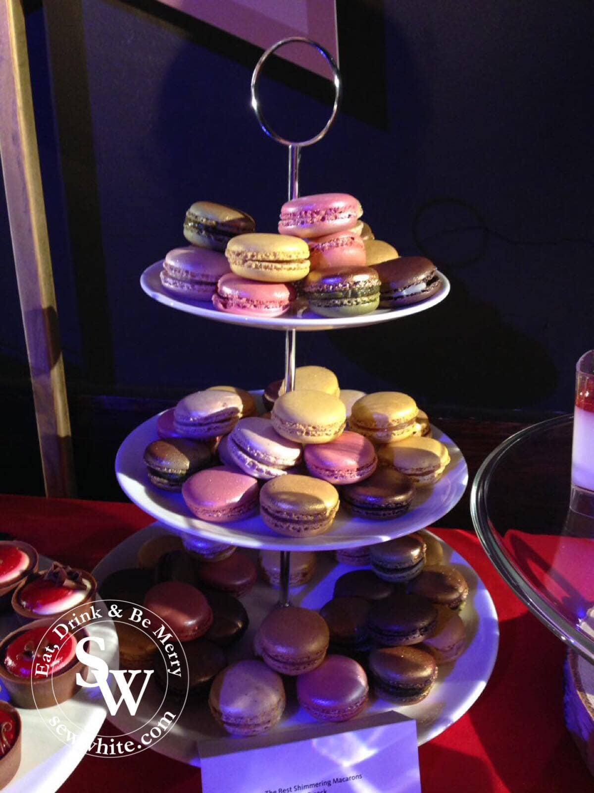 tiers of multi coloured macaroons at the Morrison's Christmas Showcase