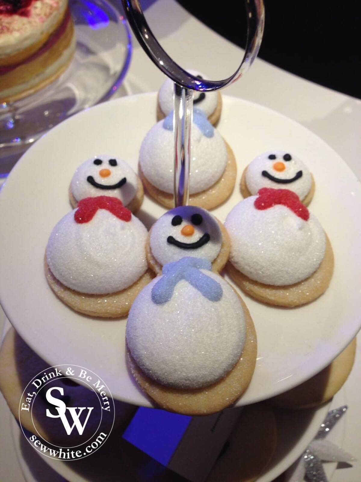 sparkly snowman shortbread with marshmallow tops at the Morrison's Christmas Showcase