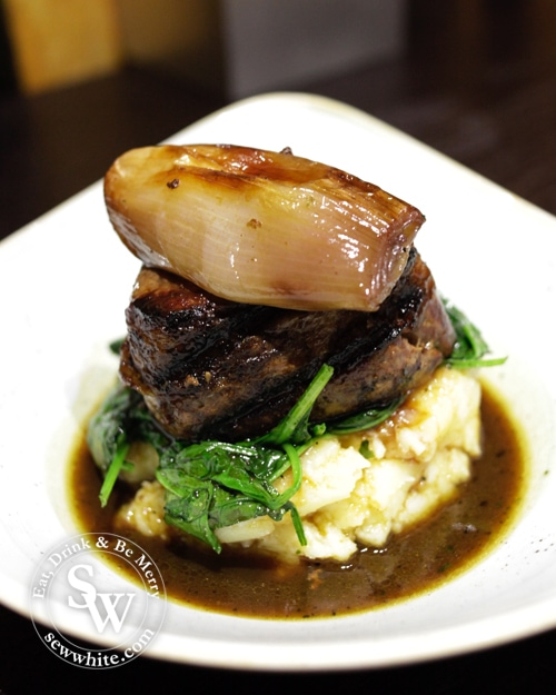 Room service steak with mash and gravy at the Dog and Fox Hotel Wimbledon