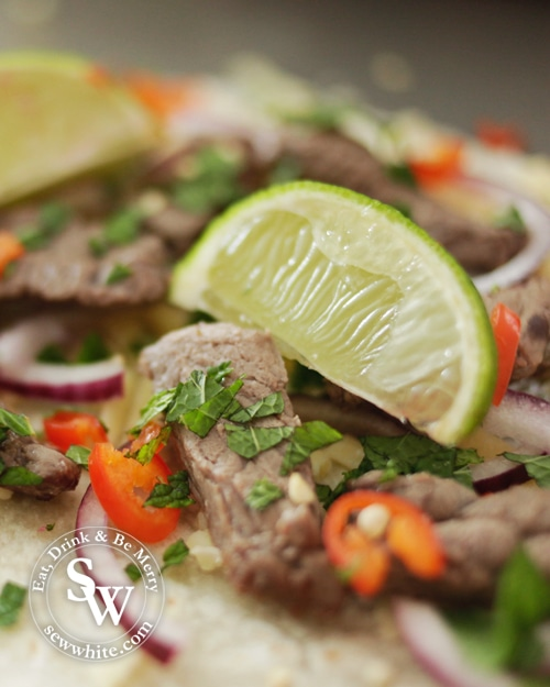Fresh lie on a bed of steak, chilli and red onion with corriander for the Mojito Beef Quesadillas