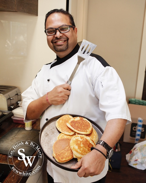 Arup making Scotch Pancakes with Peach Compote