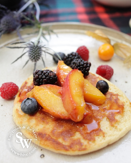 Scotch Pancakes with Peach Compote and fresh berries
