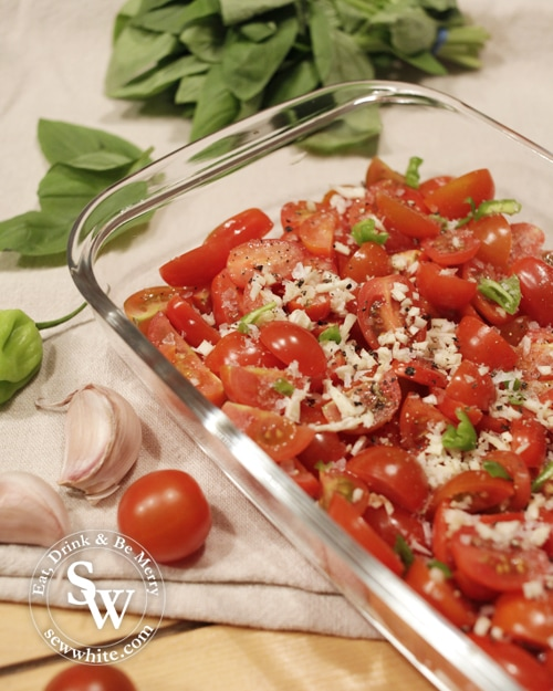 tomatoes, garic and basil ready to be roasted for the Roast Tomatoes with Garlic Basil and Chilli