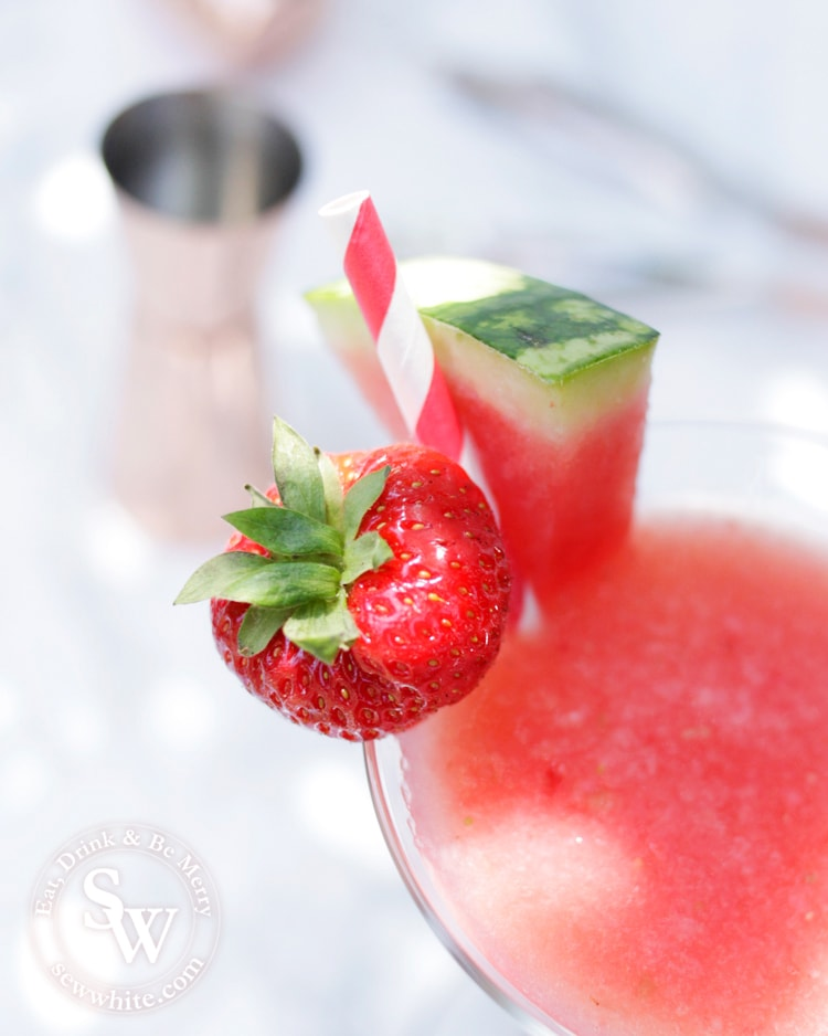 Bright and red Watermelon and Strawberry Martini