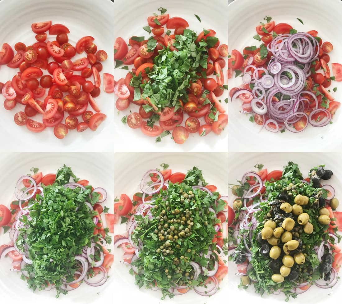 Layering up the Spaghetti Salad in a large bowl step by step