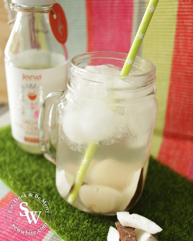 a delicious mix of ciroc colada vodka with coconut and lychee cocktail by Sew White