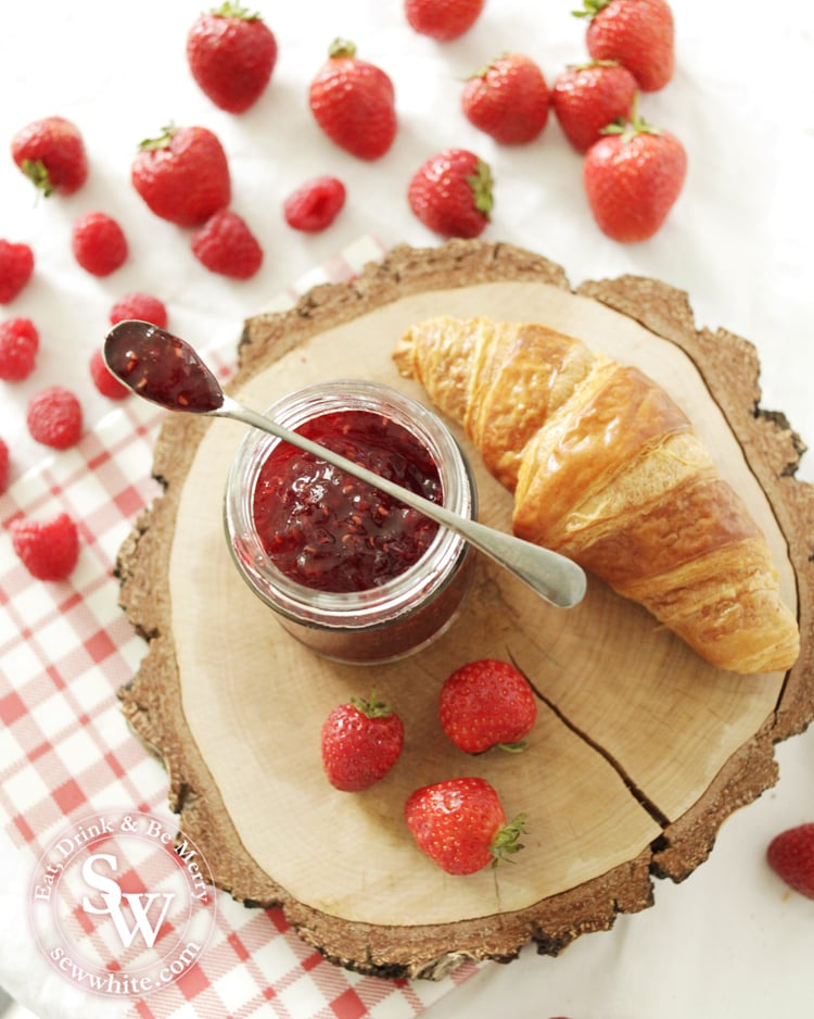 Try serving your homemade strawberry and raspberry jam with freshly baked croissants