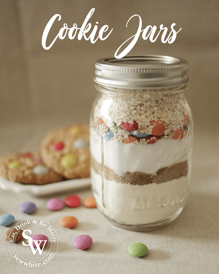 a cookie jar with each ingredient build up and ready to use