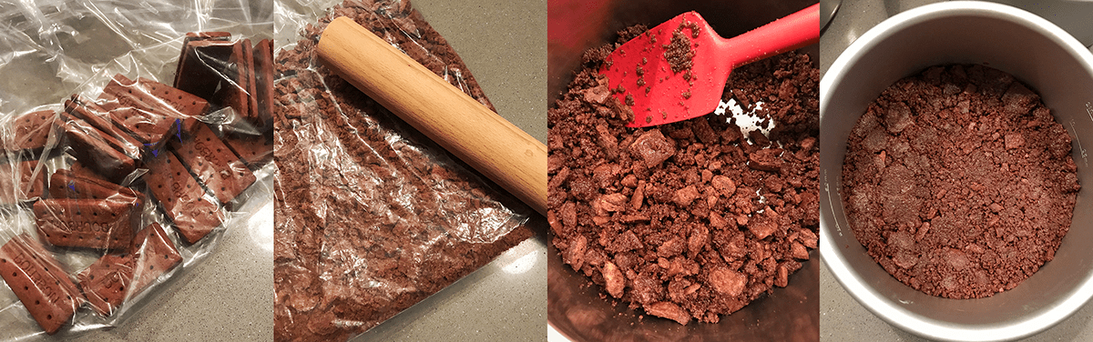 How to make a bourbon biscuit base for a cheesecake