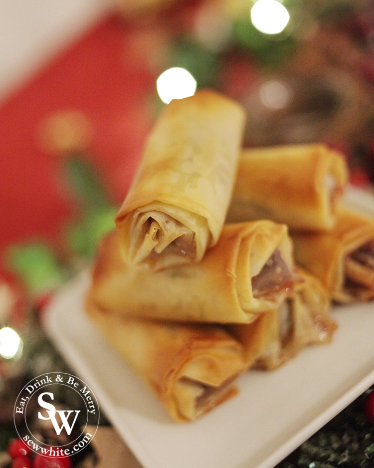 Cranberry Mince Pie Filo Pastry rolls for Christmas