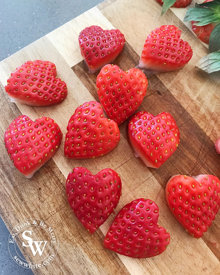 heart cut out of strawberries for decorating cakes and pancakes
