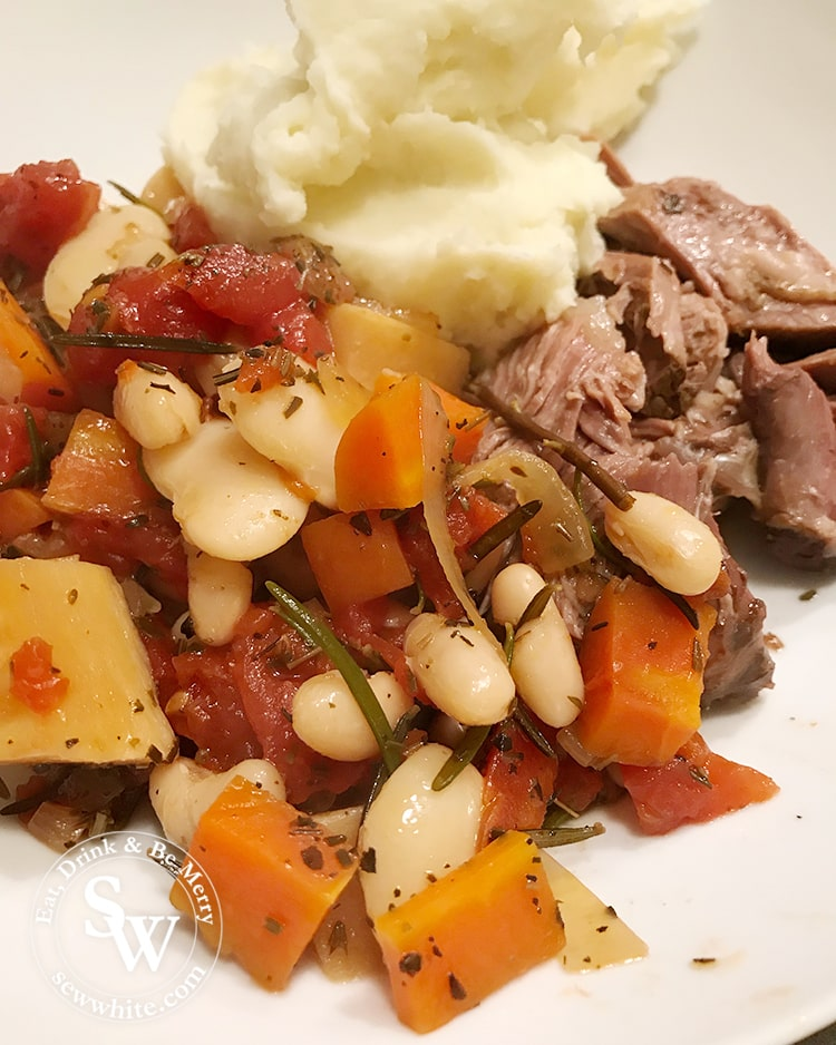Easy Slow Cooker Lamb Stew made with mash potato, carrots and butterbeans