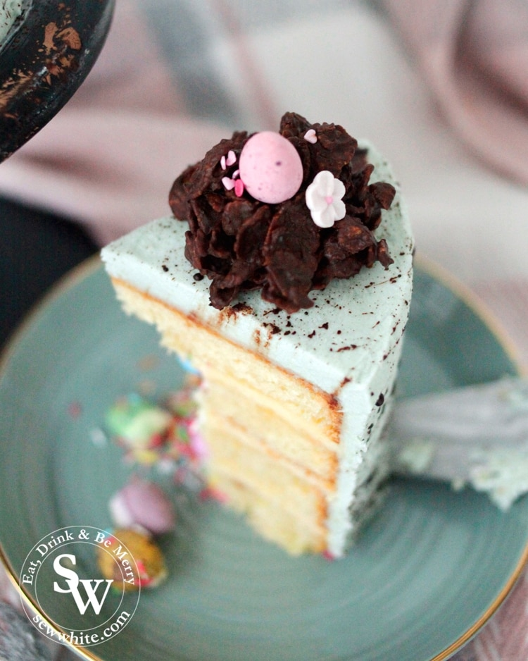 How to Make the Speckled Easter Pinata Cake with step by step instructions on creating the sprinkle covered easter nests
