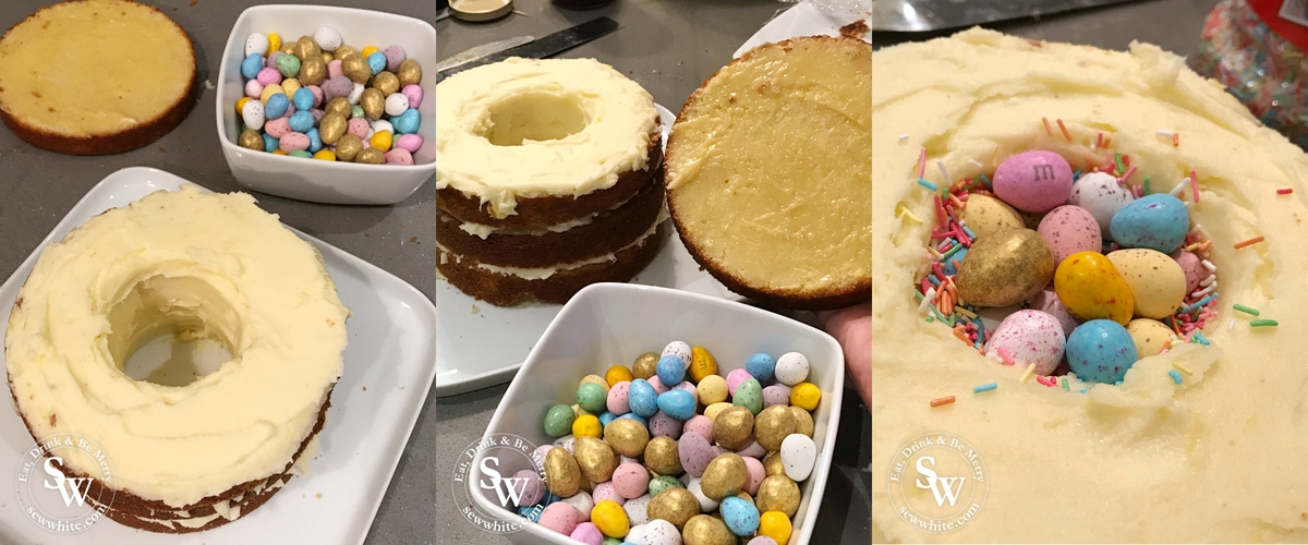 How to Make the Speckled Easter Pinata Cake with mini eggs and sprinkles